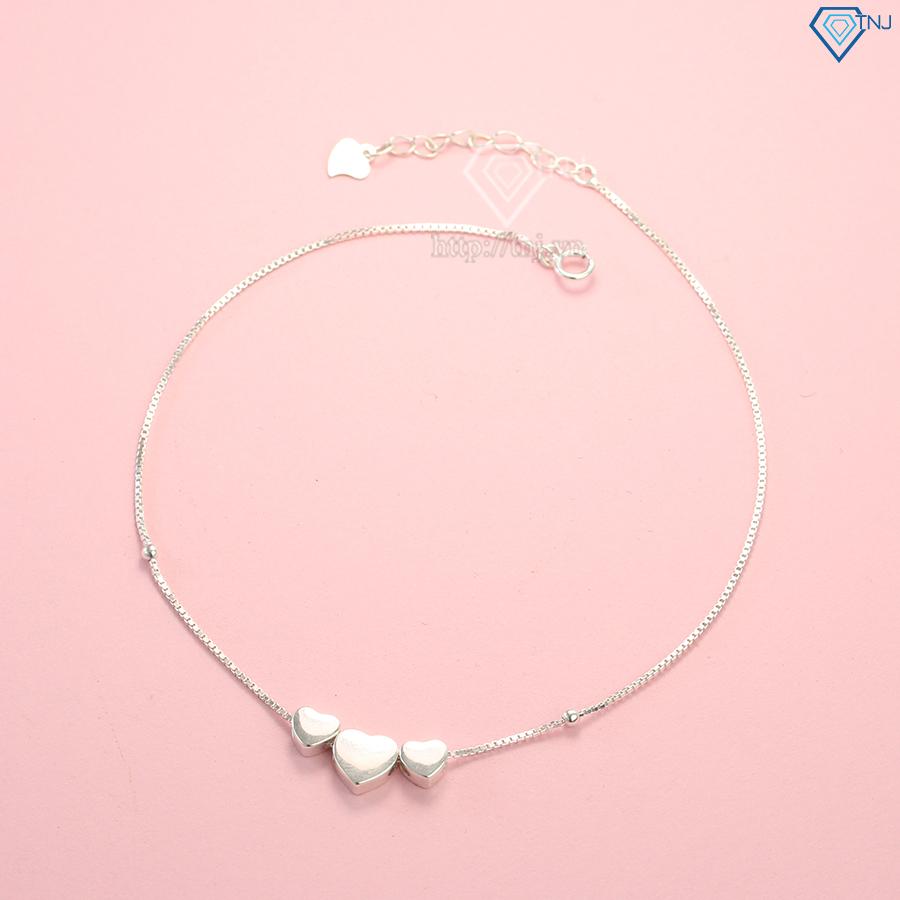 Lắc chân bạc nữ hình trái tim đơn giản LCN0047