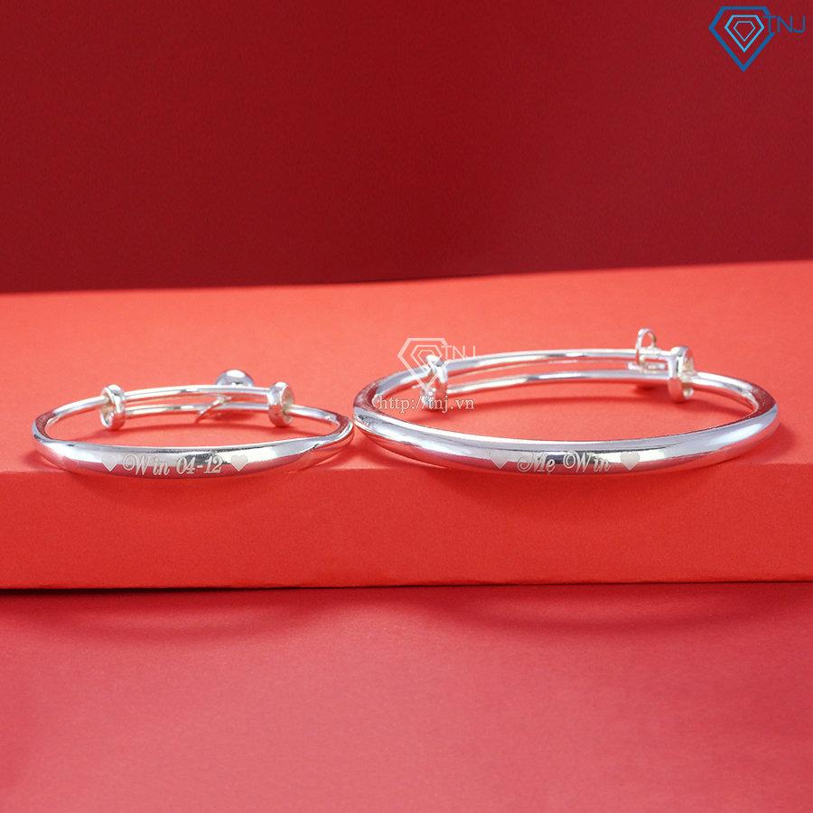 Vòng bạc đôi cho mẹ và bé khắc tên theo yêu cầu LTM0003