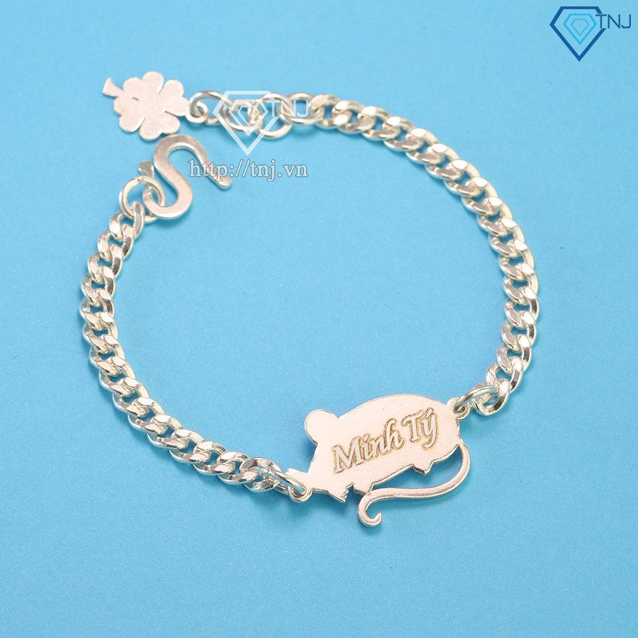 Lắc bạc cho bé hình con chuột khắc tên LTT0044