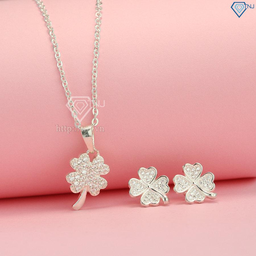 Bộ trang sức bạc cỏ 4 lá đính đá đẹp BTS0001
