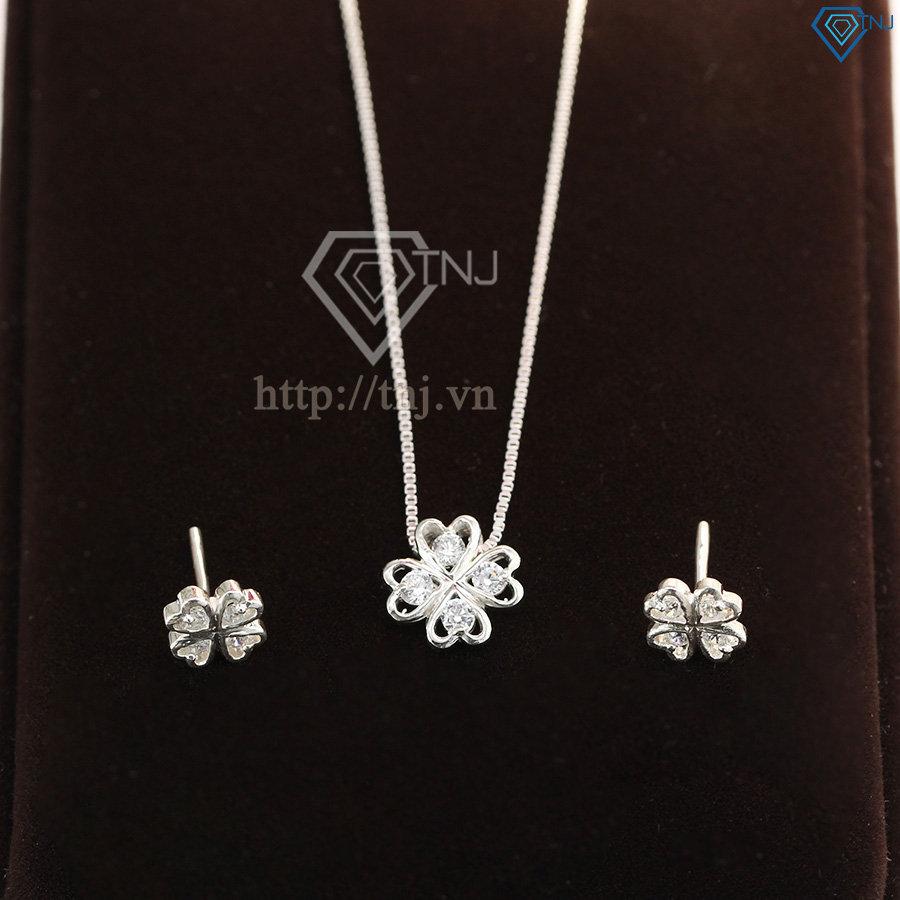 Bộ trang sức bạc cỏ 4 lá đính đá đẹp BTS0006