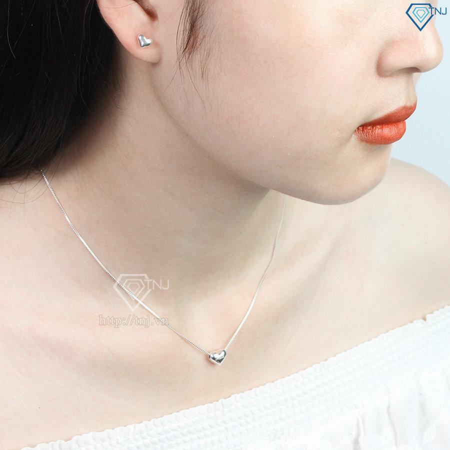 Bộ trang sức bạc giá rẻ hình trái tim đẹp BTS0011