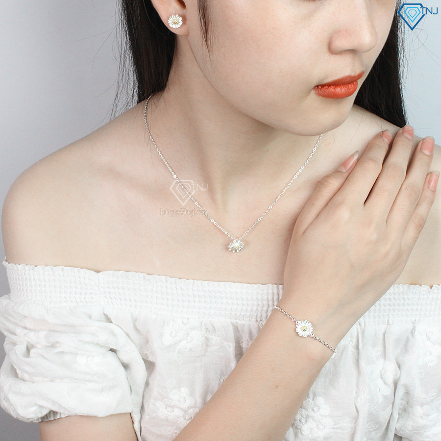 Bộ trang sức bạc giá rẻ hoa cúc họa mi đẹp BTS0016