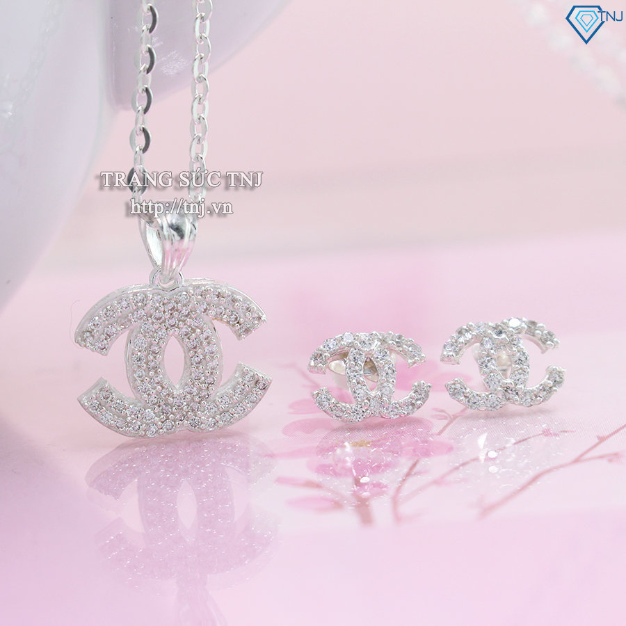 Bộ trang sức hình chanel đính đá tím đẹp BTS0021