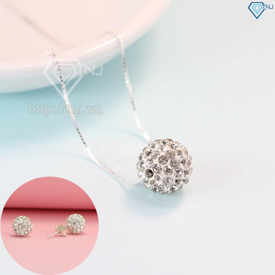 Bộ trang sức bạc hình trái châu đính đá đẹp BTS0024