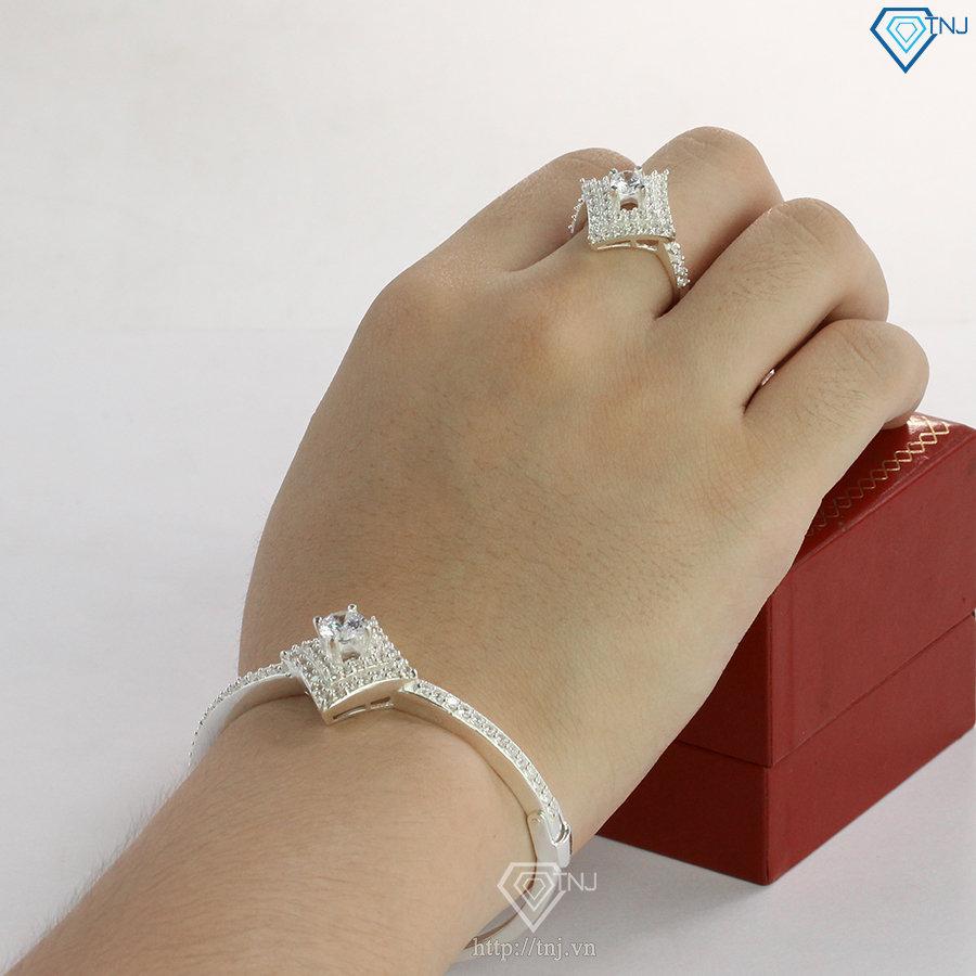 Bộ trang sức bạc cao cấp đính đá BTS0035