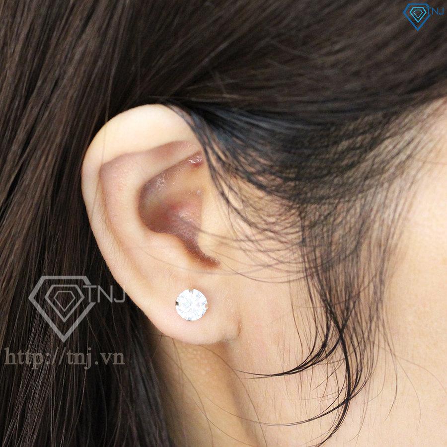 Bông tai bạc nữ đính đá tròn đẹp BTN0044