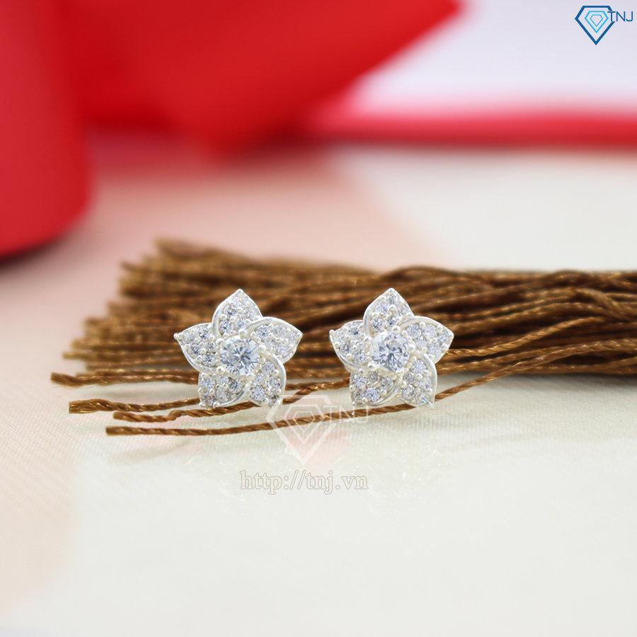 Bông tai bạc nữ hình bông hoa đính đá đẹp BTN0045