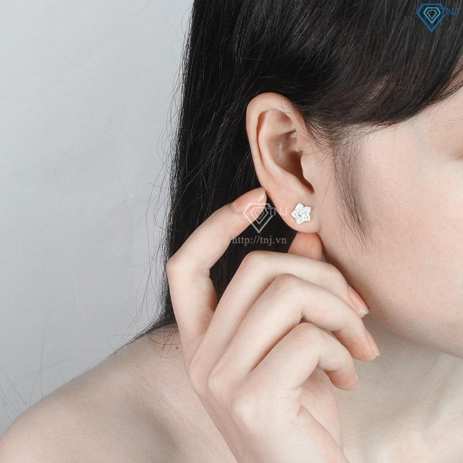 Hoa tai bạc nữ hình bông hoa đính đá đẹp BTN0045