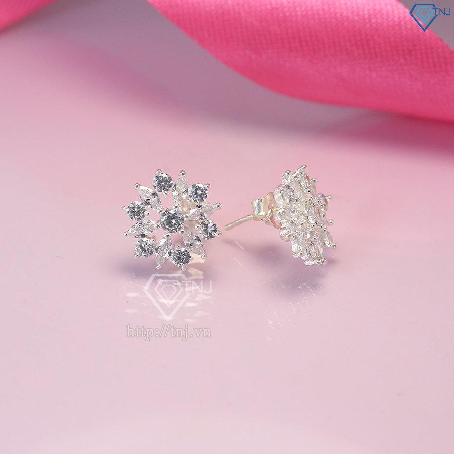 Bông tai bạc nữ đính đá trắng đẹp BTN0072