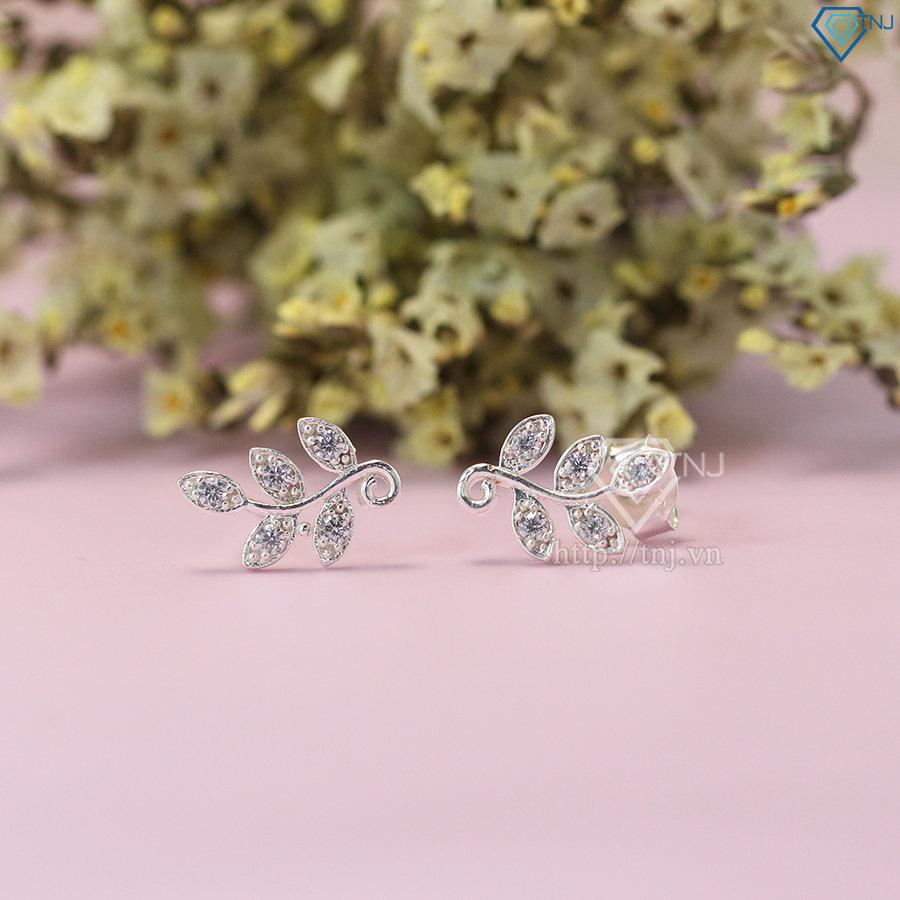 Bông tai bạc nữ hình lá Nguyệt Quế đính đá đẹp BTN0073