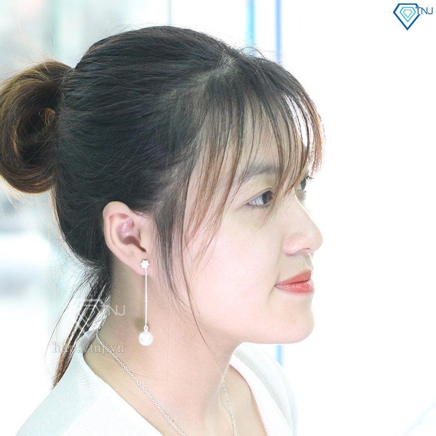 Bông tai bạc nữ dài đính ngọc trai sang trọng BTN0076