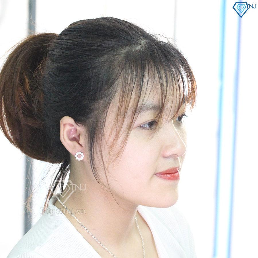 Bông tai bạc nữ hình bông hoa đính đá đẹp BTN0077
