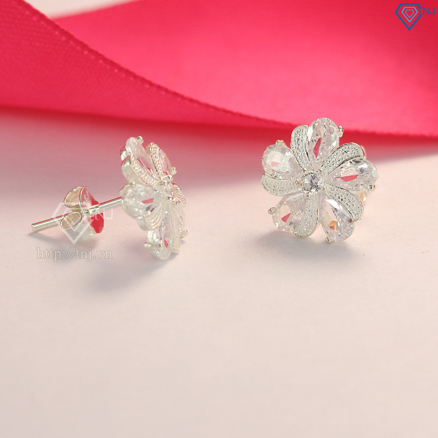 Bông tai bạc nữ hình bông hoa đính đá đẹp BTN0078