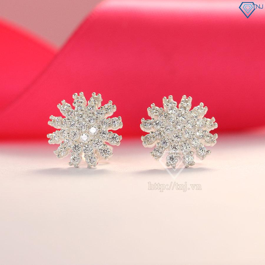 Bông tai bạc nữ hình bông hoa đính đá đẹp BTN0079