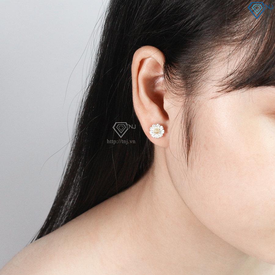 Bông tai bạc nữ hoa cúc họa mi đẹp BTN0081