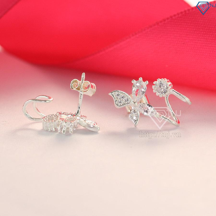 Bông tai bạc nữ hình bông hoa đính đá đẹp BTN0083
