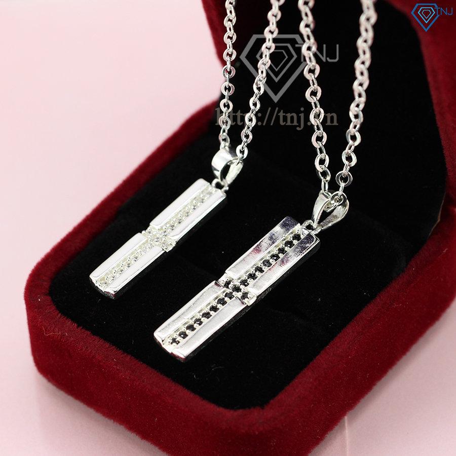 Dây chuyền đôi dây chuyền cặp bạc giá rẻ hình chữ thập DCD0001