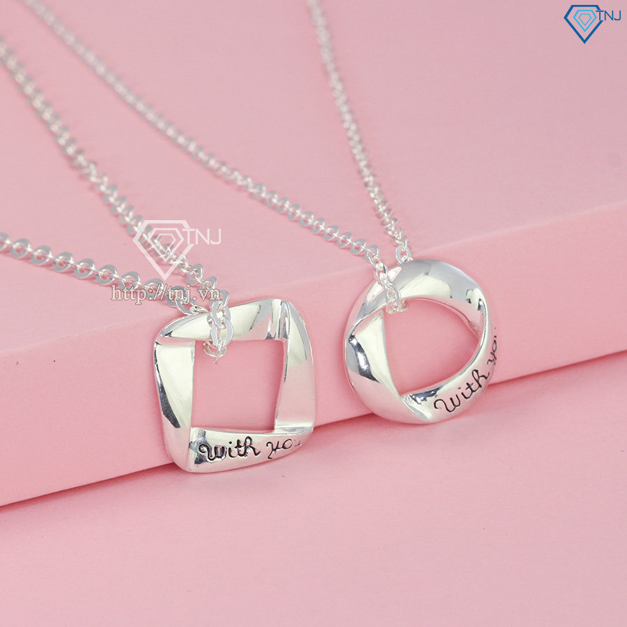Dây chuyền cặp đôi bạc đơn giản With You DCD0002