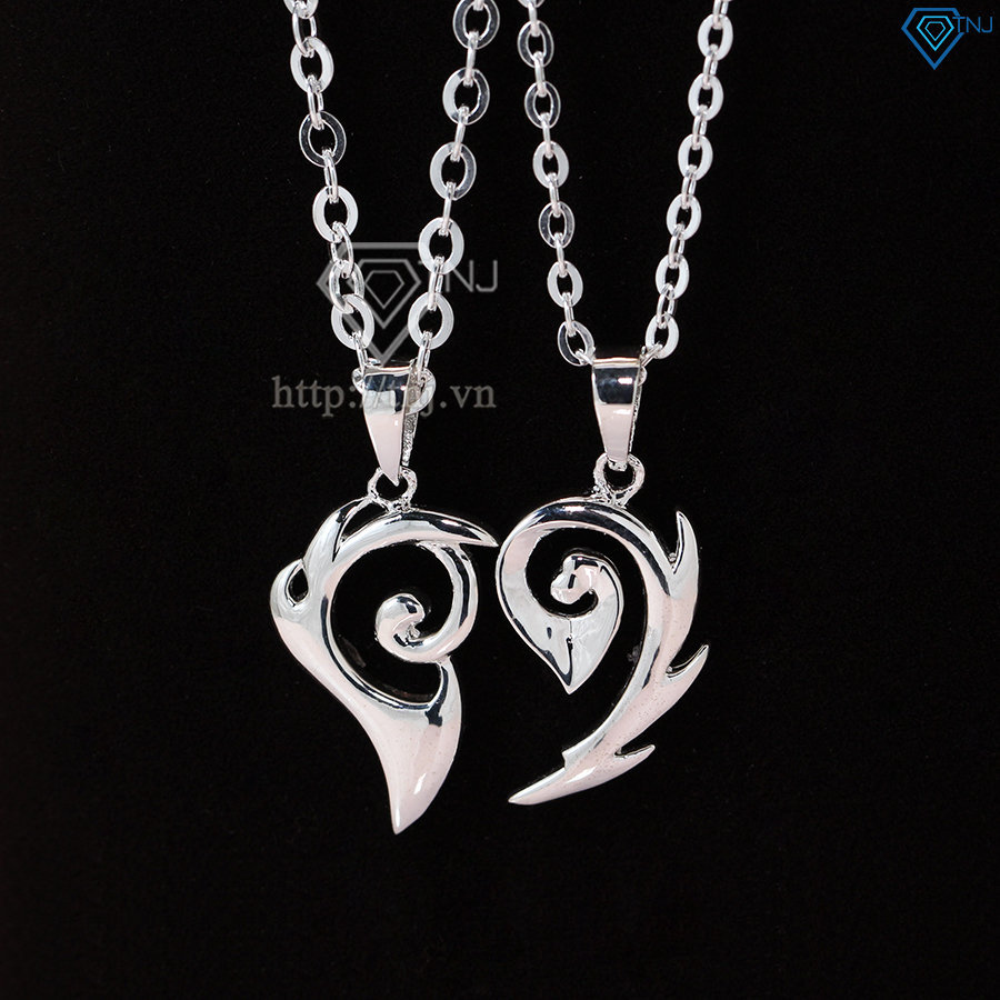 Dây chuyền đôi bạc tình nhân hình trái tim ghép DCD0005