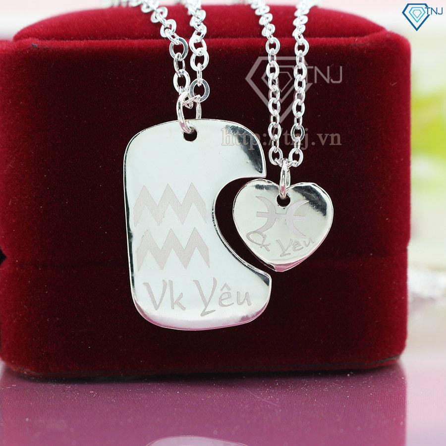 Dây chuyền cặp đôi bạc trái tim ghép khắc tên DCD0020