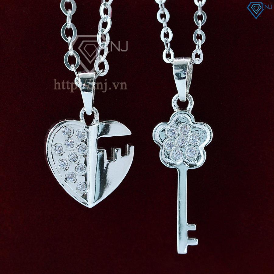 Dây chuyền cặp bạc ổ khóa và chìa khóa DCD0023