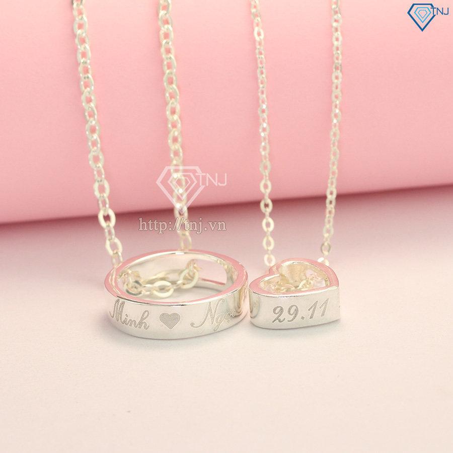 dây chuyền đôi bạc khắc tên theo yêu cầu