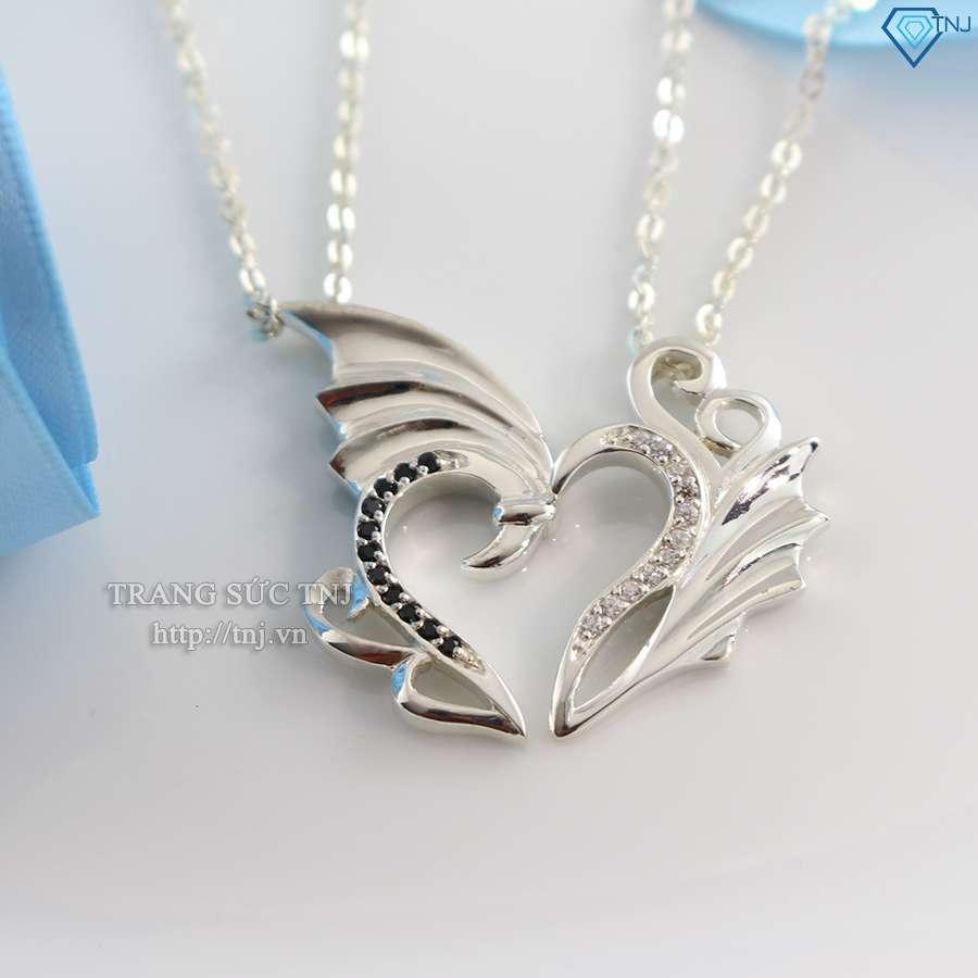dây chuyền cặp đôi bạc trái tim ghép dcd0011