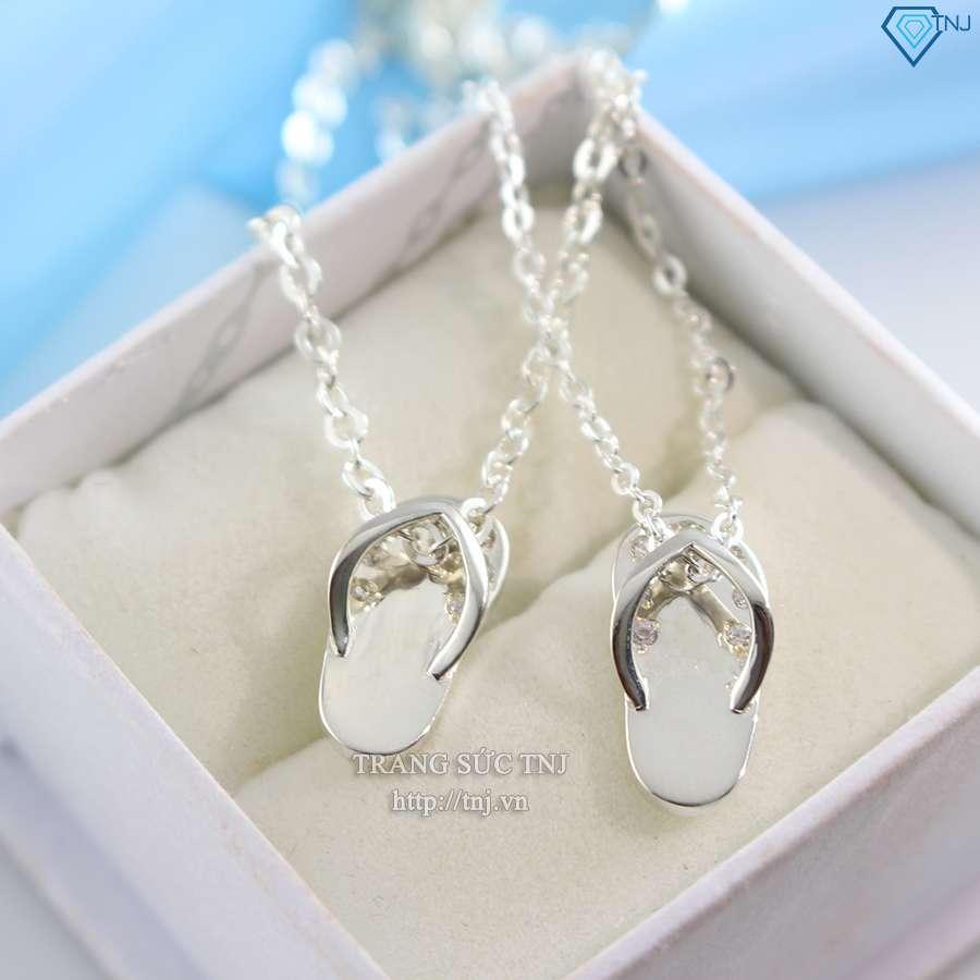 dây chuyền cặp đôi bạc dép tông cá tính dcd0015