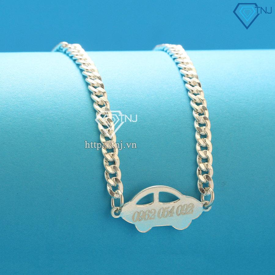 Dây chuyền bạc cho bé trai khắc tên hình ô tô DTA0020