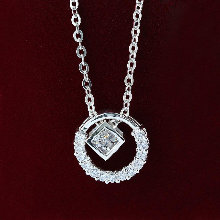 Dây chuyền bạc nữ hình lập phương đính đá đẹp DCN0265