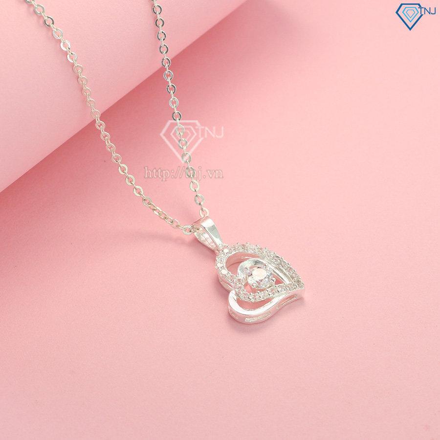 Dây chuyền bạc nữ mặt trái tim ôm trọn trái tim DCN0082