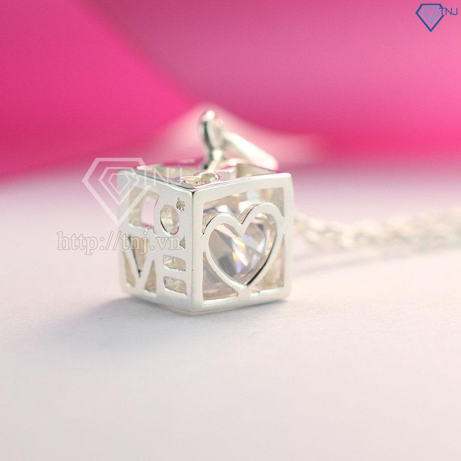 Dây chuyền bạc nữ khối lập phương tình yêu DCN0092