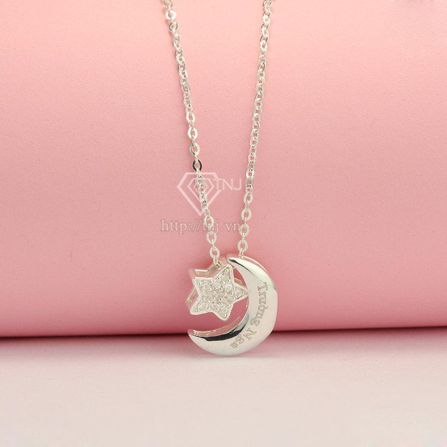 Dây chuyền bạc nữ trăng sao khắc tên DCN0117