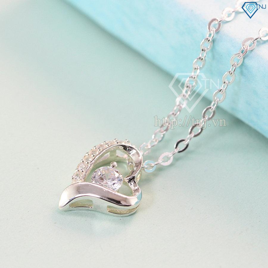Dây chuyền bạc nữ mặt trái tim đính đá DCN0134