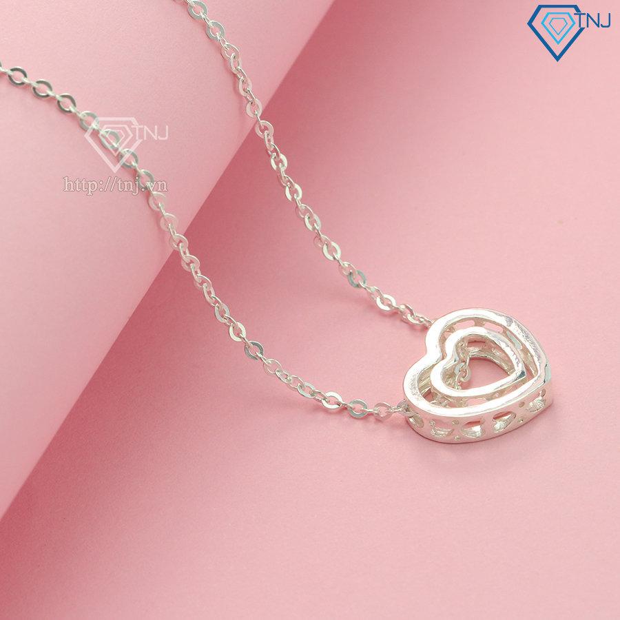 Dây chuyền bạc nữ đẹp mặt trái tim đôi DCN0135