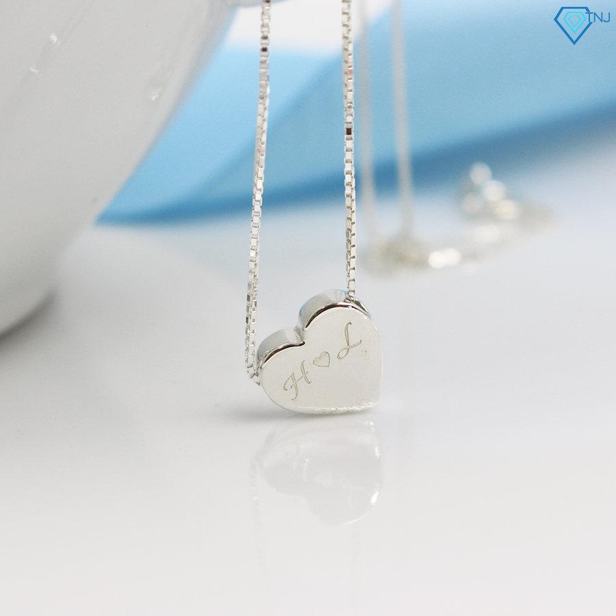 Vòng cổ bạc nữ khắc tên mặt trái tim DCN0140