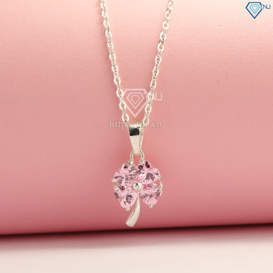 Dây chuyền bạc nữ cỏ 4 lá đính đá hồng DCN0158