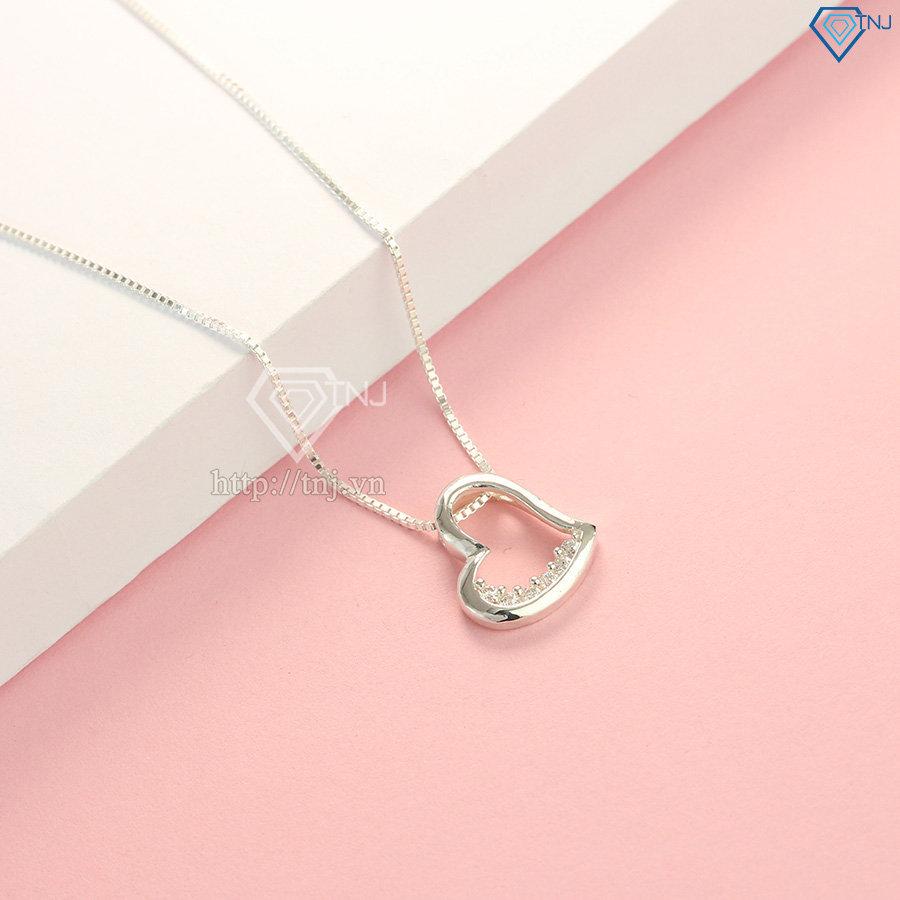 Vòng cổ nữ bạc hình trái tim đẹp DCN0226