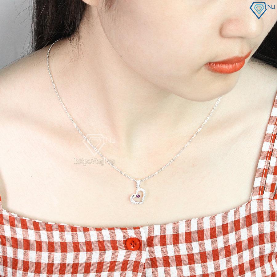 Dây chuyền bạc nữ mặt trái tim đính đá DCN0233