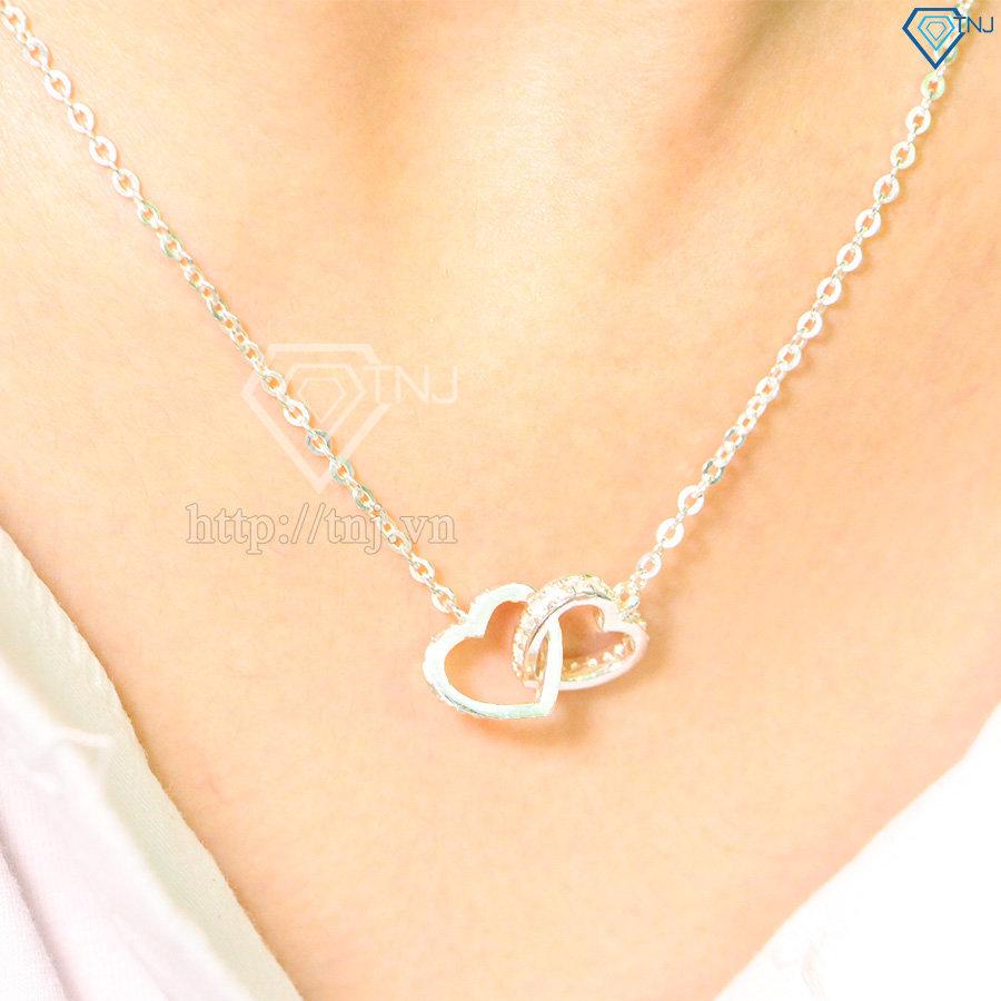 Dây chuyền bạc nữ mặt trái tim đôi DCN0264