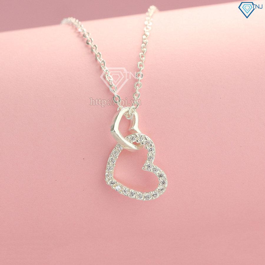 Dây chuyền bạc cho nữ hình trái tim đôi DCN0270