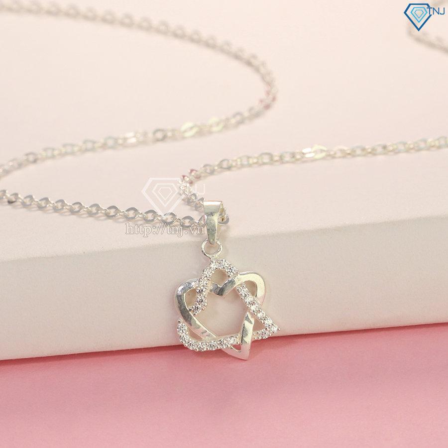 Vòng cổ bạc nữ đẹp mặt trái tim đôi DCN0271