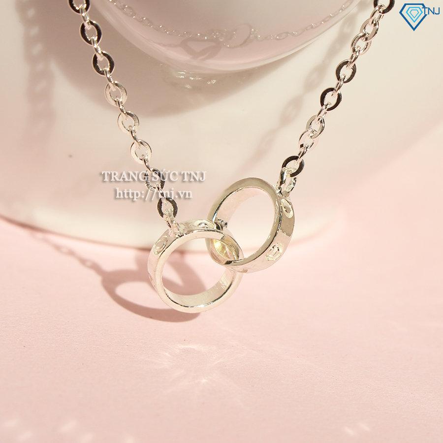 Dây chuyền bạc nữ vòng tròn đôi đẹp DCN0272