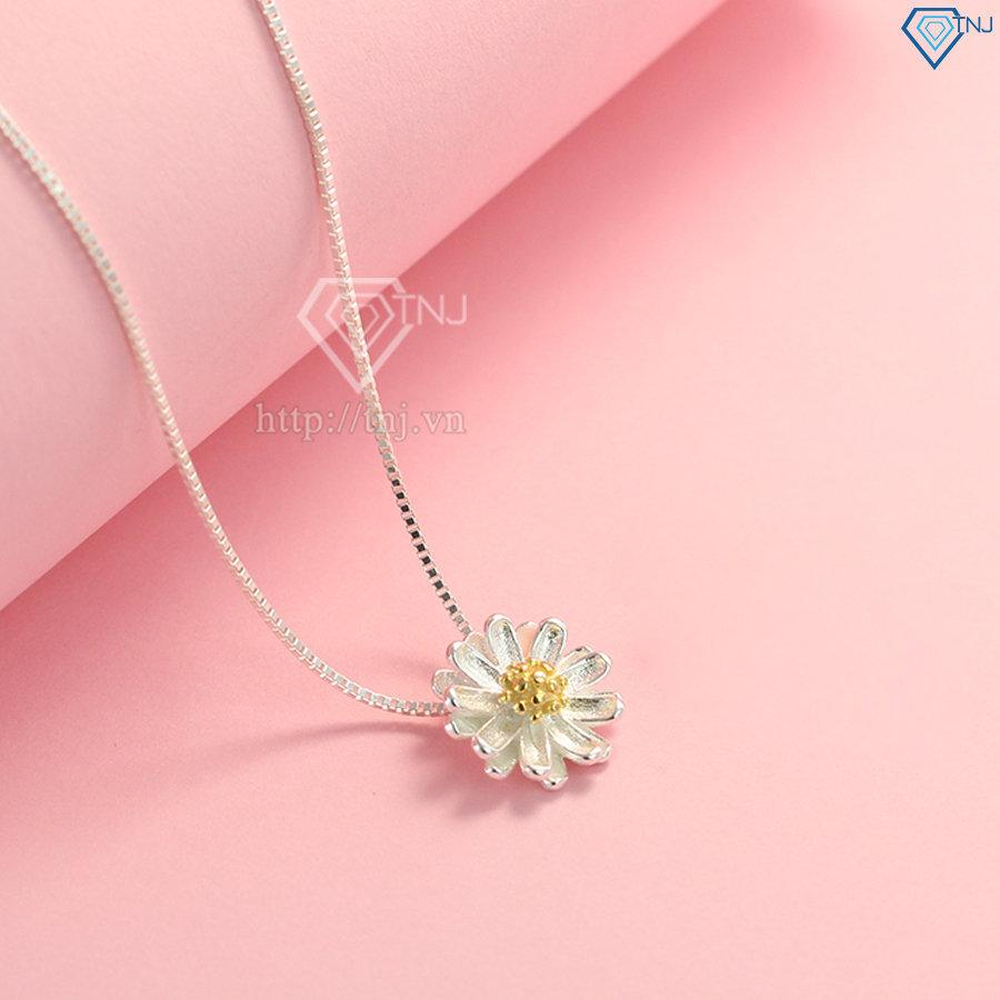 Dây chuyền bạc nữ hoa cúc họa mi đẹp DCN0312