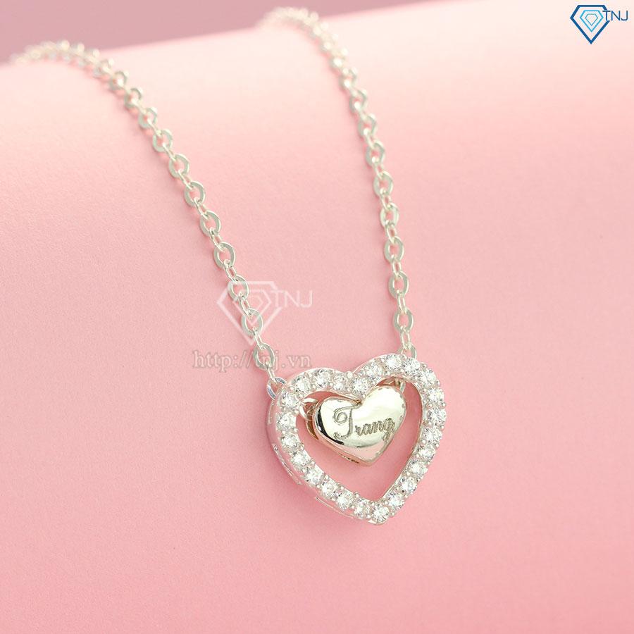 Dây chuyền bạc nữ trái tim khắc tên theo yêu cầu dây xích DCN0318