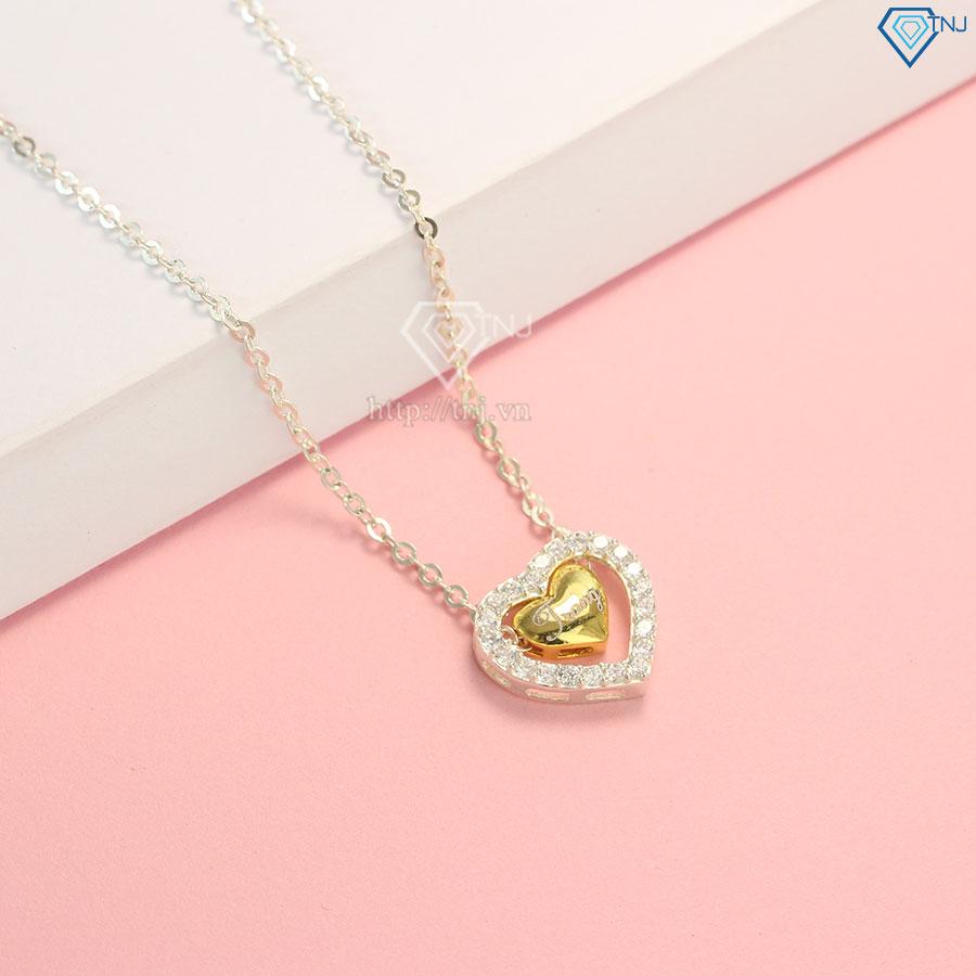 Dây chuyền bạc nữ trái tim khắc tên theo yêu cầu phiên bản dây xích DCN0318