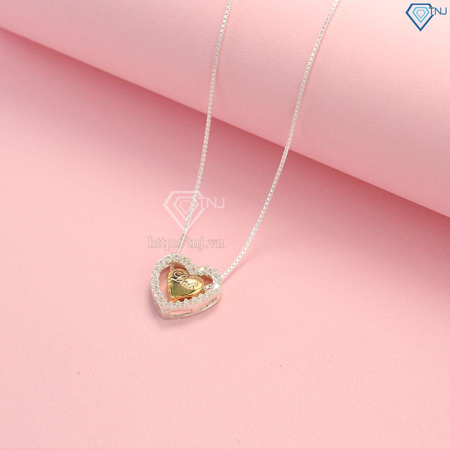 Dây chuyền bạc nữ trái tim khắc tên theo yêu cầu DCN0318