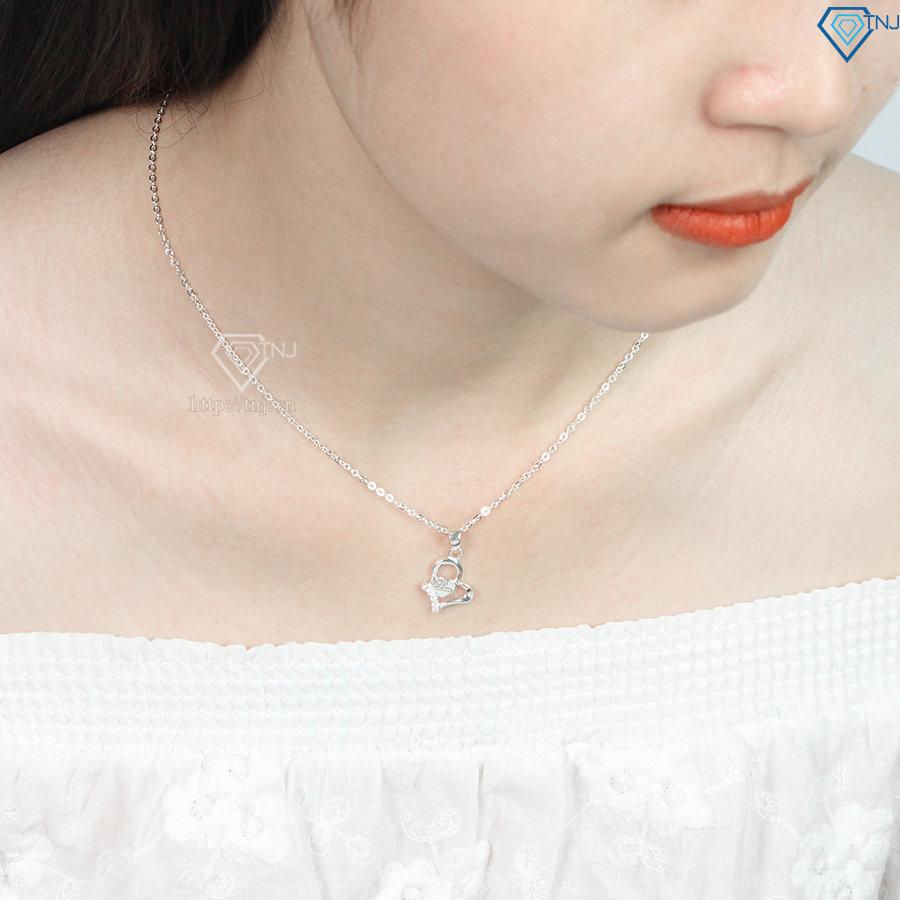 Dây chuyền bạc nữ mặt trái tim đẹp khắc tên theo yêu cầu DCN0334