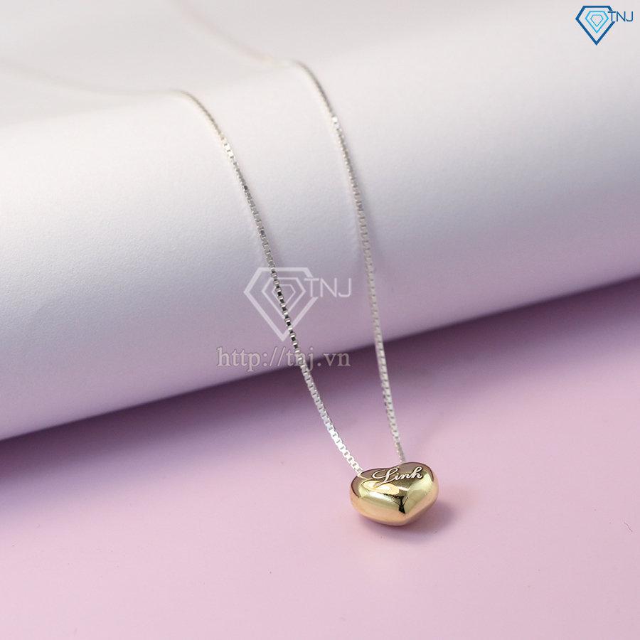 Dây chuyền bạc nữ mặt trái tim phồng khắc tên theo yêu cầu xi mạ vàng DCN0352